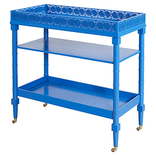 Mayfair Bamboo-Style Bar Cart, Blue