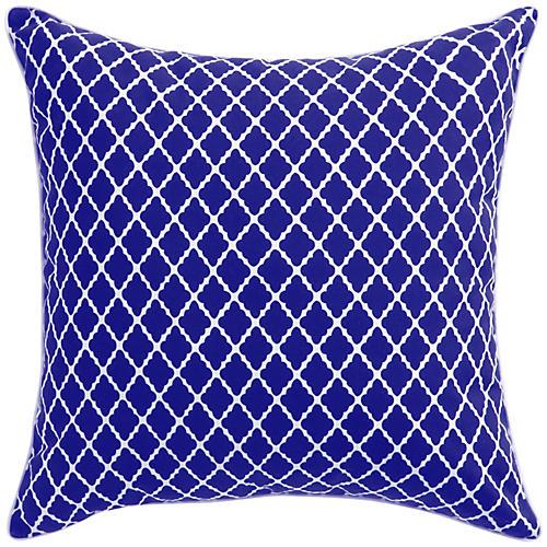 Antiqued Lattice 22x22 Pillow, Blue