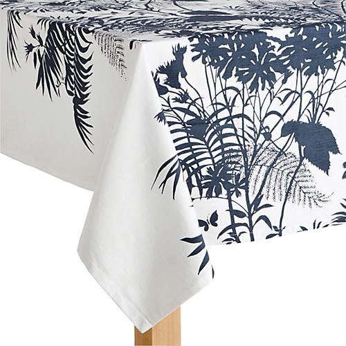 Floral Tablecloth, Blue