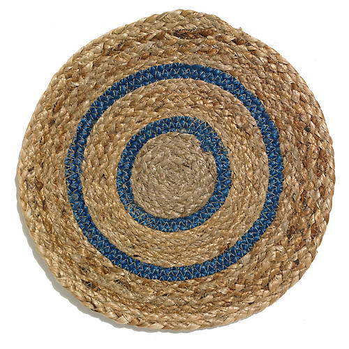 Rapee Toulouse Round Place Mat, Natural/Blue