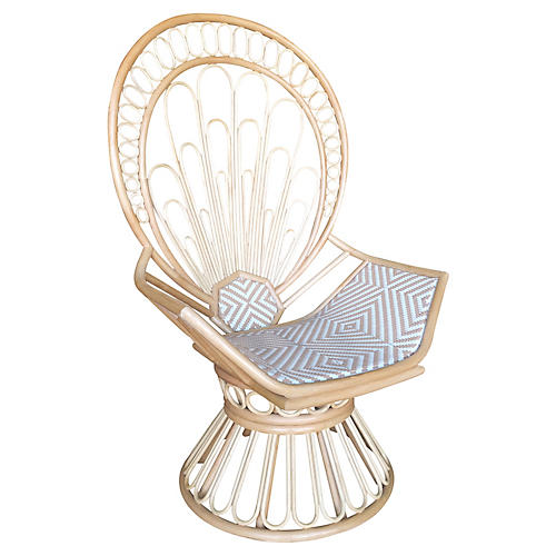The Zahra Peacock Accent Chair, Blue/White