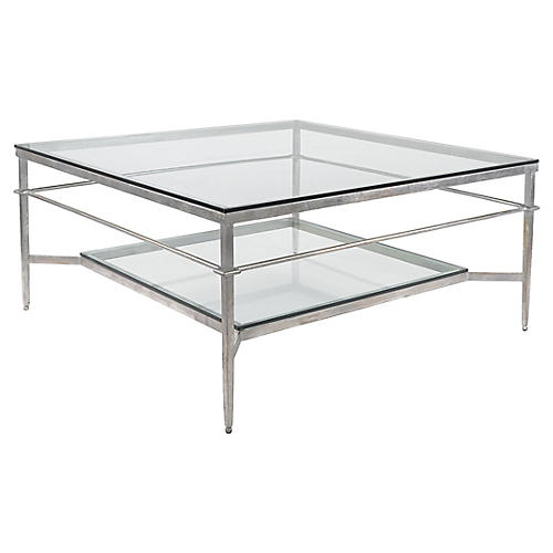 Mieka Coffee Table, Silver Leaf