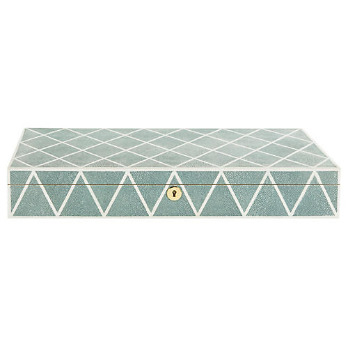 "20"" Alaina Faux Shagreen Box, Blue"
