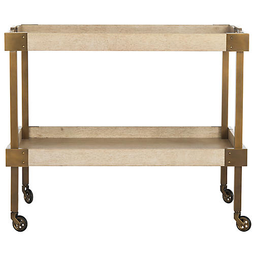 Adalia Bar Cart, Natural/Brass
