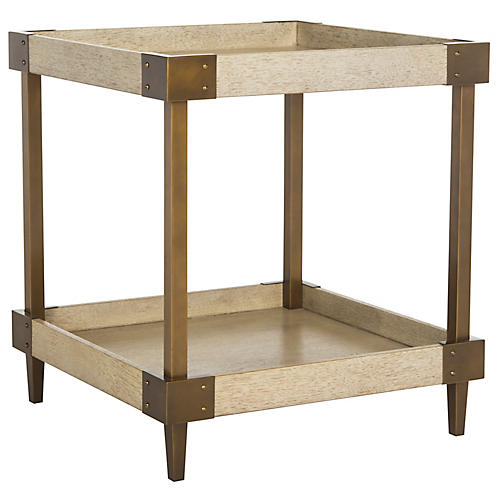 Dinora Side Table, Natural/Brass