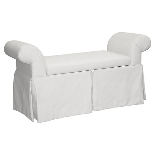 Mara Roll-Arm Skirted Bench, White