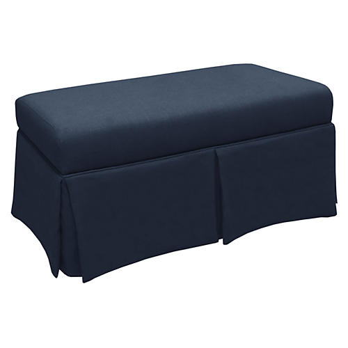 Hayworth Skirted Bench, Navy Linen