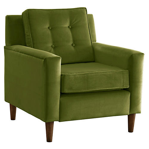Winston Club Chair, Green Velvet