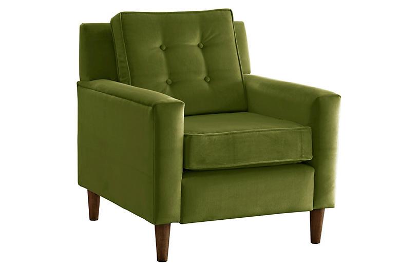 Winston Club Chair, Green Velvet