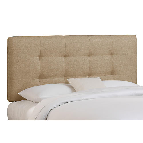Alice Tufted Headboard, Sandstone Linen