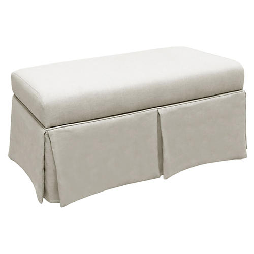 Anne Skirted Storage Bench, Talc Linen