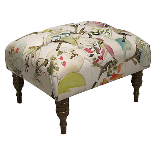 Boyd Tufted Ottoman, Cream/Multi