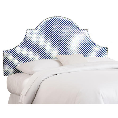 Hedren Headboard, Navy Dots