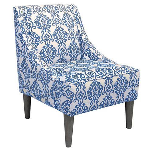 Quinn Swoop-Arm Chair, Indigo/White