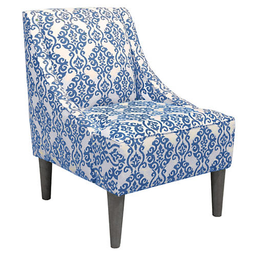 Quinn Swoop-Arm Accent Chair, Indigo/White