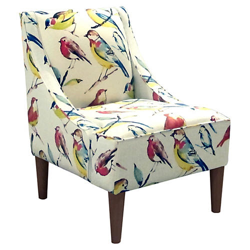 Quinn Swoop-Arm Chair, Birds Multi