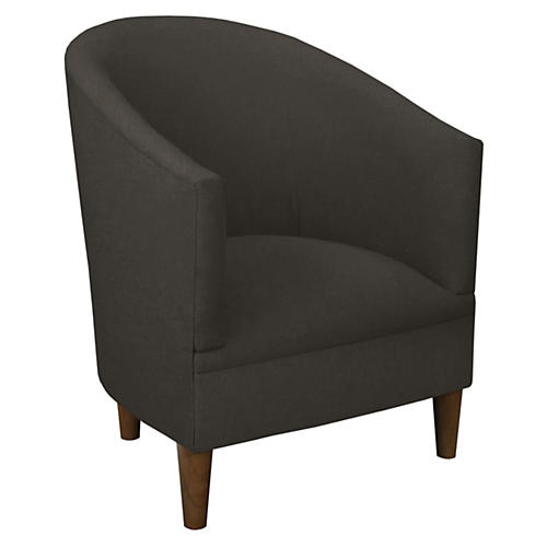 Ashlee Barrel Accent Chair, Charcoal