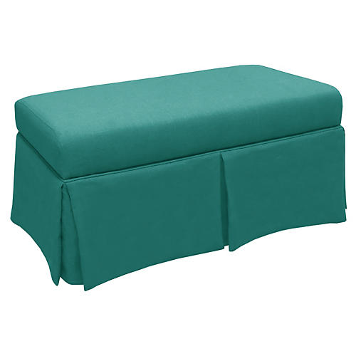 Anne Skirted Storage Bench, Teal Linen