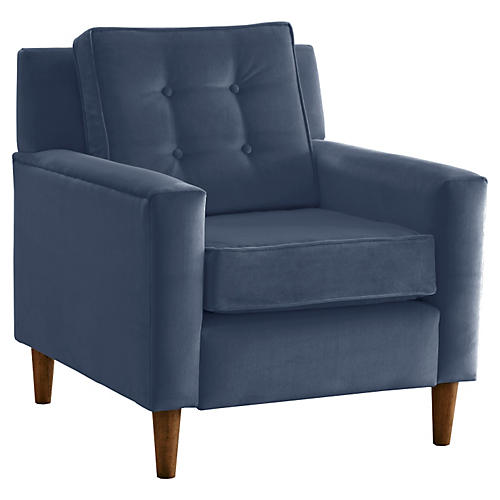Winston Club Chair, Blue Velvet