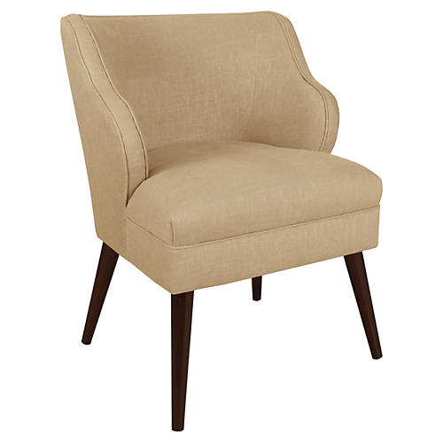 Kira Accent Chair, Sand Linen