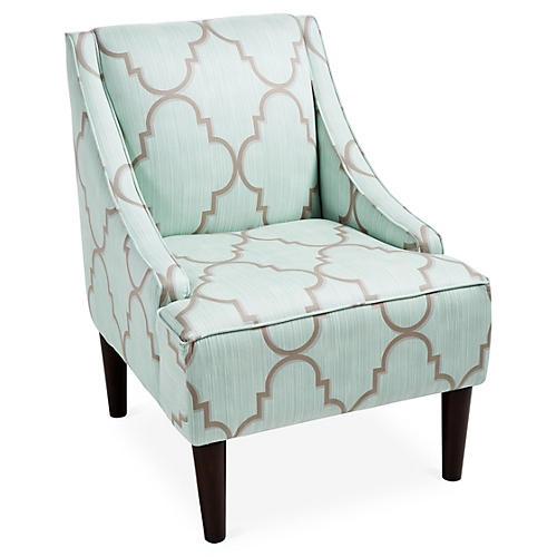 Quinn Swoop-Arm Chair, Sky Blue