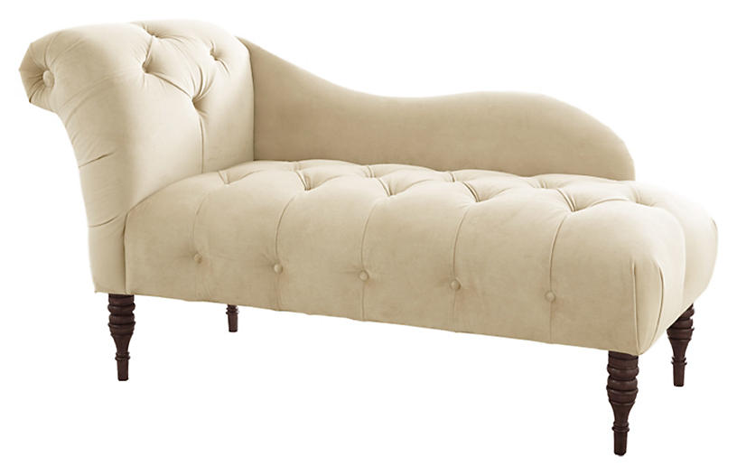 Frances Tufted Chaise, Cream Velvet