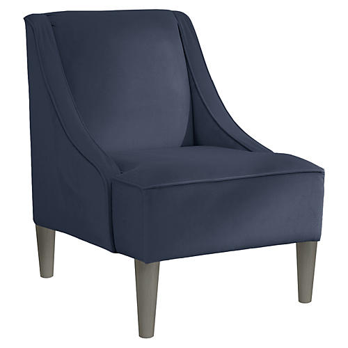 Quinn Swoop-Arm Accent Chair, Gray/Blue Velvet