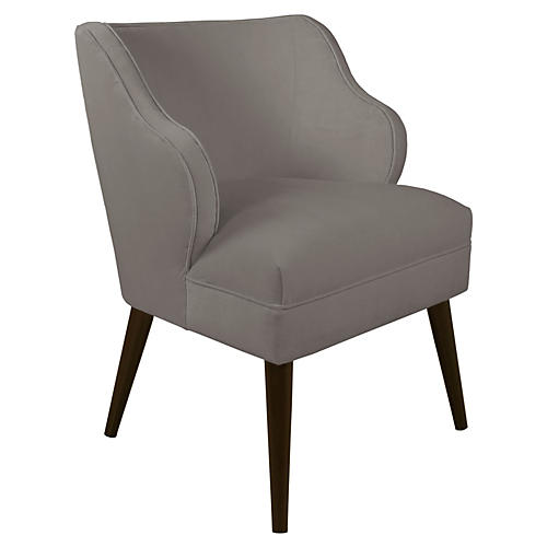 Kira Accent Chair, Smoke Velvet