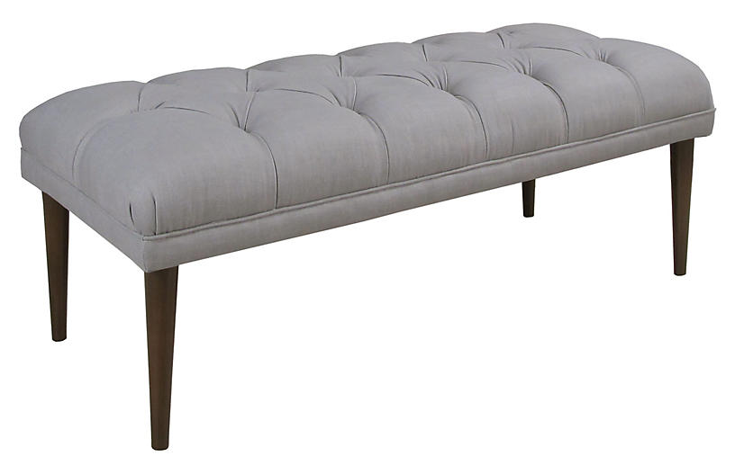 Carrie Tufted Bench, Gray Linen