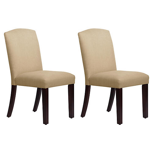 S/2 Marie Side Chairs, Sand Linen
