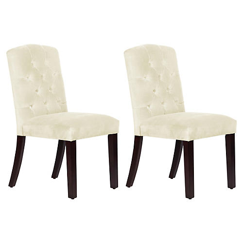 S/2 Lea Tufted Side Chairs, Cream Velvet