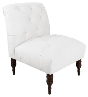 Eloise Slipper Chair, White Velvet   Accent Chairs   Living Room    Furniture | One Kings Lane