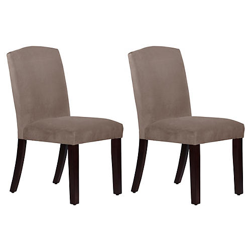 S/2 Marie Side Chairs, Smoke Velvet