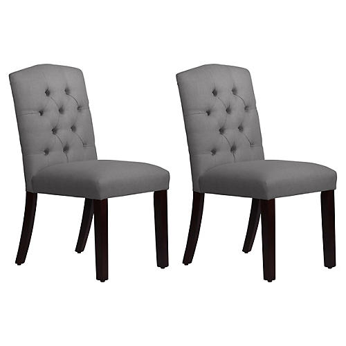 S/2 Lea Tufted Side Chairs, Gray