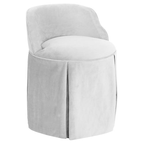 Addie Vanity Stool, White Velvet