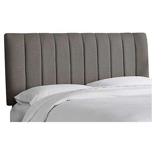 Delmar Channel Headboard, Gray Linen