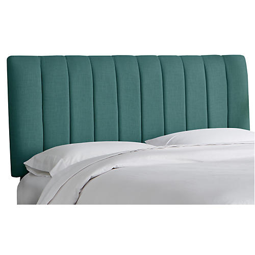 Delmar Channel Headboard, Teal Linen