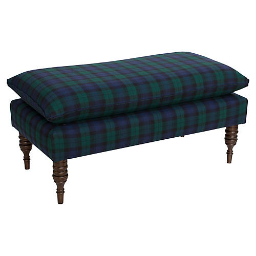 Eva Pillow-Top Bench, Navy Plaid