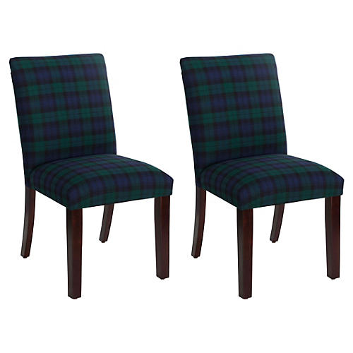 S/2 Shannon Side Chair, Navy Plaid