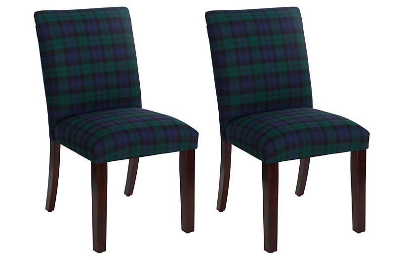 Set of 2 Shannon Side Chair - Navy Plaid