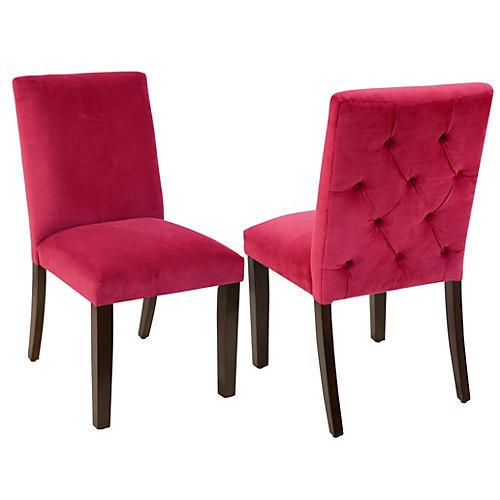 S/2 Lisa Side Chairs, Fuchsia Velvet