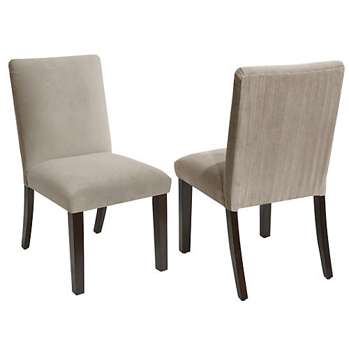 S/2 Erin Side Chairs, Light Gray Velvet