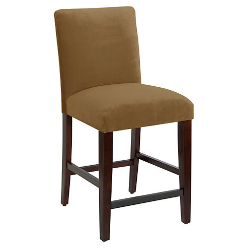 Erin Pleated Counter Stool, Sand Velvet