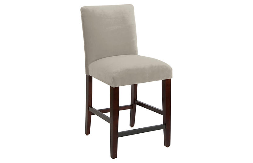 Erin Pleated Counter Stool, Light Gray Velvet