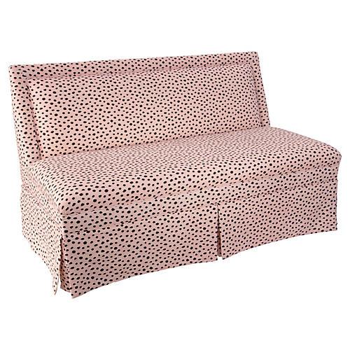 Lela Skirted Settee, Pink Polka Dot