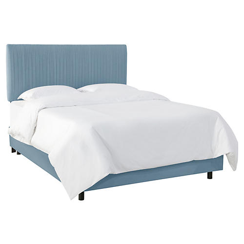 Erin Pleated Bed, Light Blue