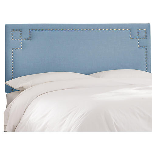 Aiden Headboard, Light Blue Linen