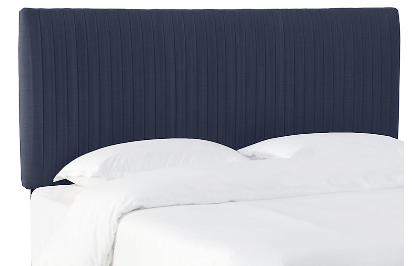 Erin Pleated Headboard, Navy Linen