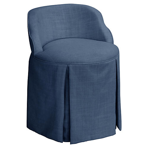 Addie Vanity Stool, Navy Linen