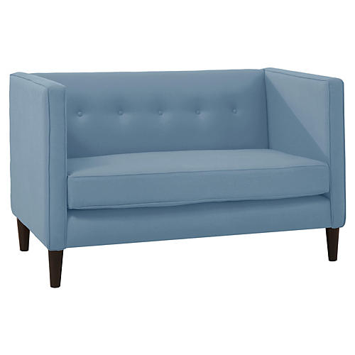 Joey Settee, French Blue Linen